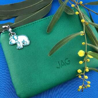 koala charm on green leather Jag purse